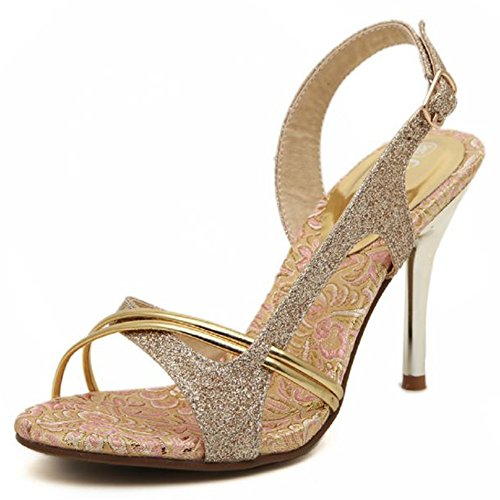 XIAOLIN 夏のファッションピープトウゴールデンエレガントサンダル韓国のファッションプリンセススレットトレッと甘いセクシーな女性のサンダル2種類のヒールの高さ7cmと10cm(オプションのサイズ) (色 : Heel height 7 cm, サイズ さいず : EU39/UK6.0/CN39)