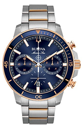 Bulova Men's 45mm Marine Star Two-Tone Stainless Steel Blue Dial Chronograph Bracelet (Two Tone Chronograph Silver Dial)