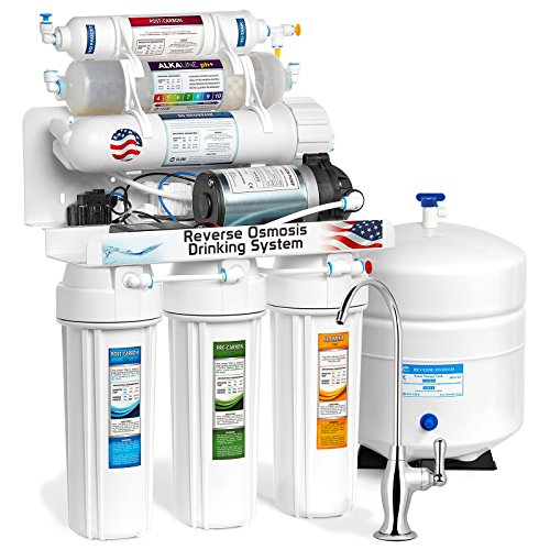 Express Water Alkaline Reverse Osmosis Filtration System – 10 Stage RO Mineralizing Water Filter – Mineral, Antioxidant, pH + – Under Sink Purifier – With Pressure Booster Pump – 100 GPD (Permeate Pump Ro)