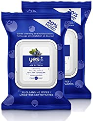 Yes To Blueberries Age Refresh Cleansing Facial Wipes, 30 Count (Pack of 2)