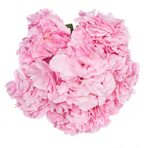 Royal Imports Hydrangea Flowers Artificial Fake Silk Bunch of 6 Heads for Bouquets, Weddings, Valentines, Wreaths, Crafts, Pink