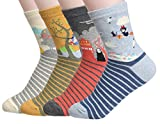 Women's Cool Animal Fun Crazy Socks (Zebrastudio Anime 4 Pairs) fits shoe 6-9