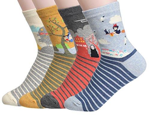 Women's Cool Animal Fun Crazy Socks (Zebrastudio Anime 4 Pairs) fits shoe 6-9 by CUSTOMONACO