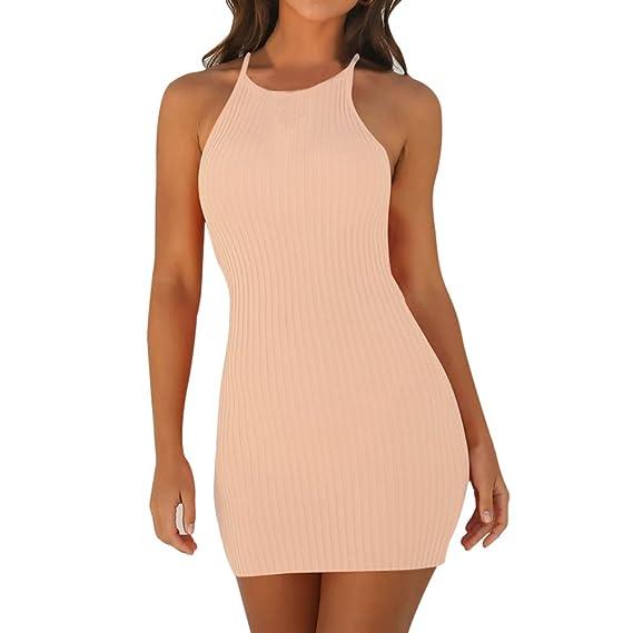 b14cdf46d0d7 QingJiu Frauen Sling Sleeveless Holiday Party Minikleid: Amazon.de ...
