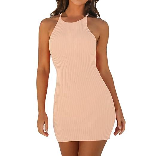 3562798fc7 Dresses for Women Elegant Spaghetti Straps Sexy Strap Solid Stripes Dress  Sleeveless Slim Vestidos Bodycon Dress