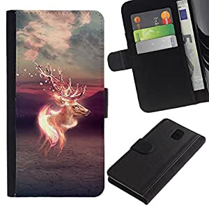 """A-type (Psychedelic ciervos"""") Colorida Impresión Funda Cuero Monedero Caja Bolsa Cubierta Caja Piel Card Slots Para Samsung Galaxy Note 3 III"""