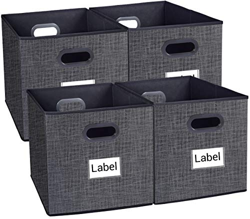 Homyfort Cloth Storage Bins, Foldable Cubes Box Basket Organizer Container Drawers with Dual Plastic Handles for Closet, Bedroom, Toys,Set of 4 Black with Pattern 13