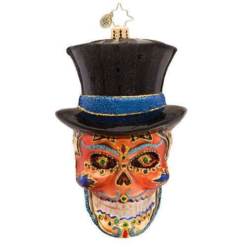 Christopher Radko Mr. Dead Skeleton Skull with Hat Glass Ornament - 1017401 - (Christopher Radko Halloween Skull)
