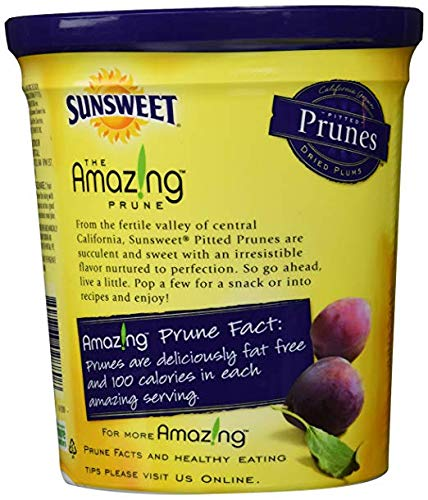Sunsweet Amazin Prunes, Pitted Prunes, TWO 16 oz Containers of Plump, Sweet & Juicy Dried Plums - GREAT VALUE