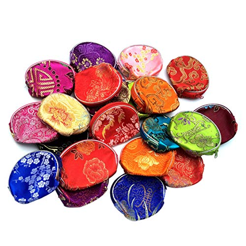 20 PCS Silk Coin Purse Wallet Jewelry Pouch Zipper Chinese Embroidered Sugar Bag Lipstick Container