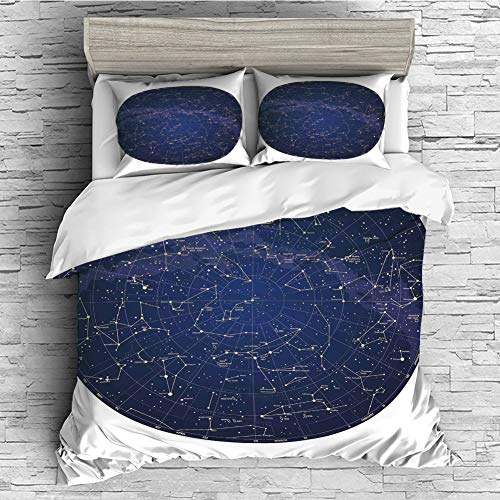 (iPrint All Season Flannel Bedding Duvet Covers Sets for Girl Boy Kids 4 Pcs (Double Size) Constellation,High Detailed Sky Map of Northern Hemisphere with Names of Stars,Blue Cream Violet Blue)