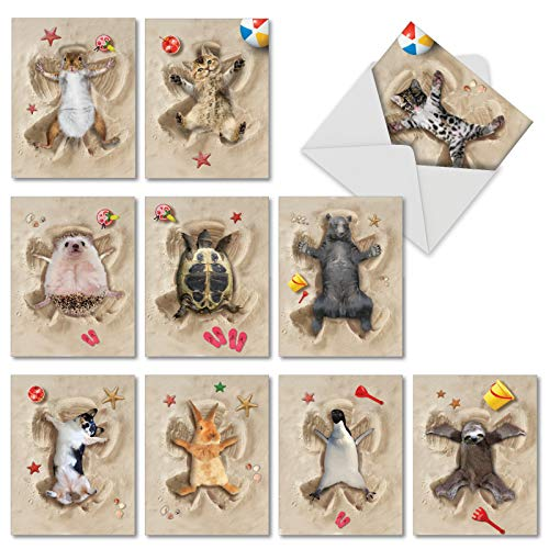 Sand Angels - 10 Hilarious All Occasion Blank Note Cards with Envelope (4 x 5.12 Inch) - Animal Beach Fun Greeting Cards - Cat, Rabbit, Dogs, Bear Bulk Stationery Notecards AM6844OCB-B1x10