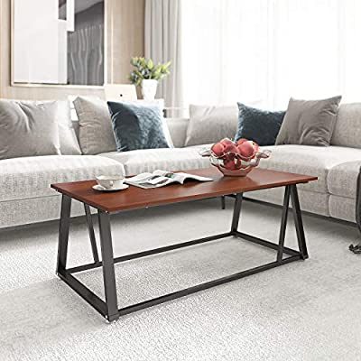 Coffee Table Cocktail Table with Storage Shelf Sofa Table Rustic End Table for Living Room 47""