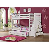 ACME Furniture 37370 Allentown Twin over Twin Bunk Bed with Storage Ladder & Trundle, Twin/Twin, White