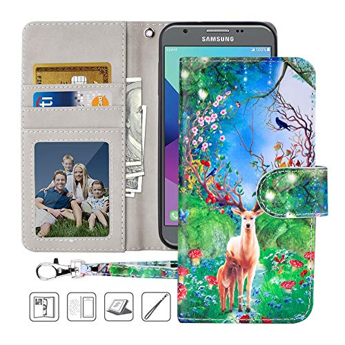 Samsung Galaxy J3 Emerge/J3 Eclipse Luna Pro/J3 Prime/Amp Prime 2 Wallet Case,MagicSky PU Leather Folio Flip Case Cover with Wrist Strap,Card Holder,Kickstand for Galaxy J3 2017, Forest Deer