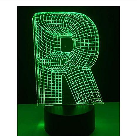 Luz de la noche Alfabeto letra R 7 cambio de color Mesa de ...