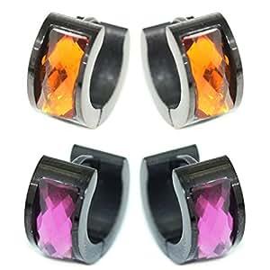 Pack de 2 pares de corte brillante pulido facetado Coral oscuro rosado de acrílico púrpura encantos de acero inoxidable negro pendientes de aro Unisex Hombres Mujeres 1,0 mm 18gauge