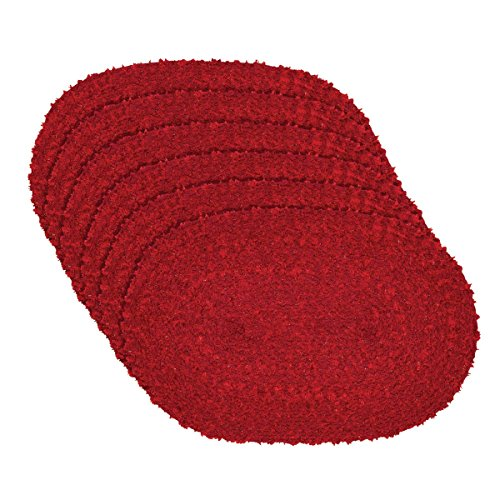 Braided Accent - VHC Brands Christmas Holiday Tabletop & Kitchen - Dyani Placemat Set of 6, 12 x 18 Oval, Red