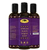 (8 oz) African Black Soap Liquid Body Wash with Coconut Oil and Shea Butter - Great Shampoo and Face Wash - Helps Clear Dry Skin, Acne, Eczema, Psoriasis - Organic Liquid African Black Soap from Ghana