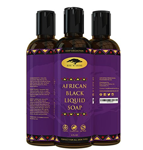 (8 oz) African Liquid Black Soap with Coconut Oil and Shea Butter - Body Wash, Shampoo and Face Wash - Helps Clear Dry Skin, Acne, Eczema, Psoriasis - Organic Liquid - Soap Lotion Antibacterial Cleansing Free