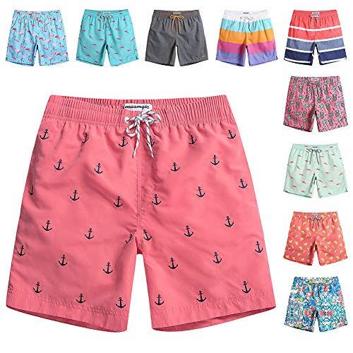 MaaMgic Mens Quick Dry Anchor Swim Trunks with Mesh Lining Swimwear Bathing Suits,Red-glm009,Small