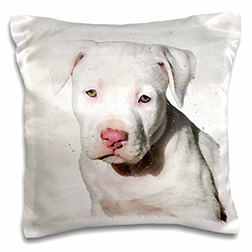 3D Rose American Staffordshire Terrier Pit Bull Puppy Watercolor Pillow Case, 16