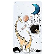 100% Cotton Super Soft Crib Sheet - Hypoallergenic and Breathable - Original Design by JumpOff Jo - to The Moon Series - Giraffe & a Calf