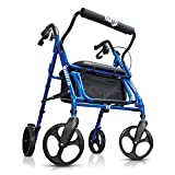 Hugo Mobility 700-991 Switch Combo Rollator Walker and Transport Wheelchair, Pacific Blue