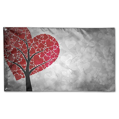 YUANSHAN Home Garden Flag Heart Tree Art Polyester Flag Indo