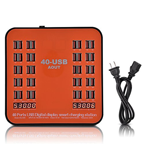 fosa 40 Ports USB Charging Station, Multi Port USB Charger Wall Adapter with Power Cable for iPhone X/8/7/6s/Plus, iPad Pro/mini/iPod, Galaxy S7/S6/Edge/Plus and more (Orange) Multiport Module