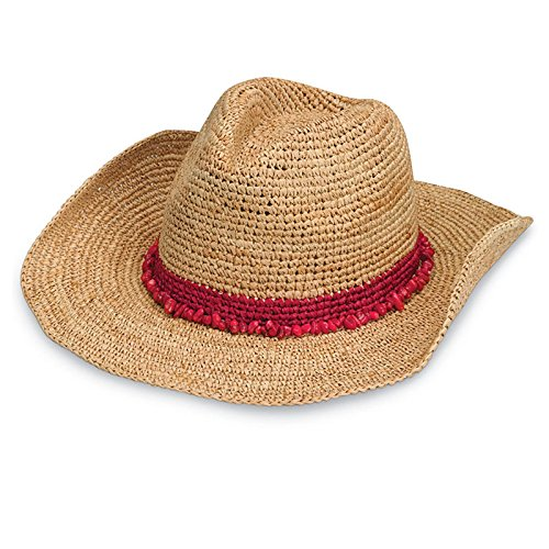 (Wallaroo Hat Company Women's Tahiti Cowboy Sun Hat - Red - Raffia, Modern Cowboy, Designed in)