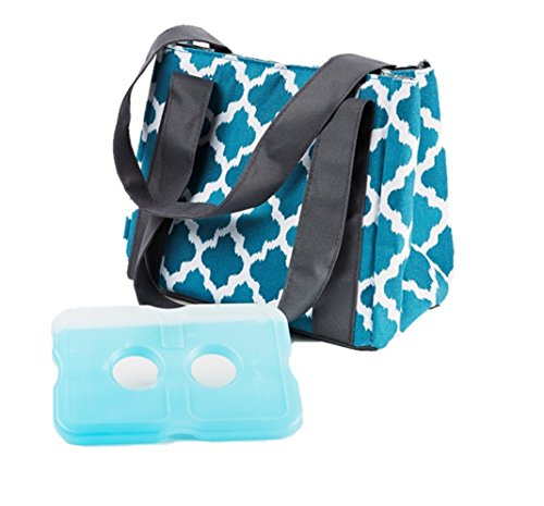Fit & Fresh Women's Venice Insulated Lunch Bag with Ice Pack, Stylish Adult Lunch Bag for Work or School, Teal Ikat Tile