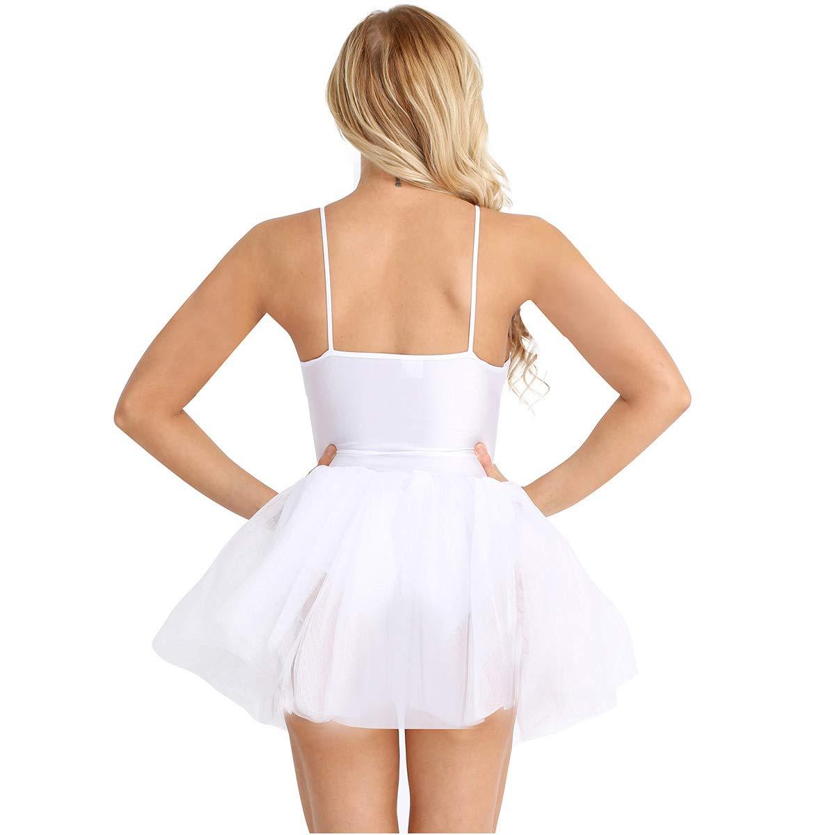Freebily Vestido para Danza Ballet Mujer Disfraz de Princesa Lago de Cisnes Tutú Vestido Sin Mangas de Espaguetis Lentejuelas para Actuación de Baile ...