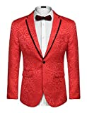 COOFANDY Mens Rose Floral Suit Jacket Blazer Weddings Prom Party Dinner Tuxedo