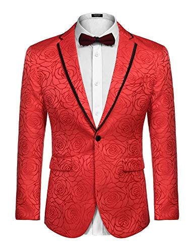 COOFANDY Men's Rose Floral Suit Jacket Blazer Weddings Prom Party Tuxedo Gold ()