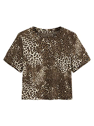 SweatyRocks Women's Short Sleeve Crew Neck Solid Basic Crop T-Shirt Leopard Small