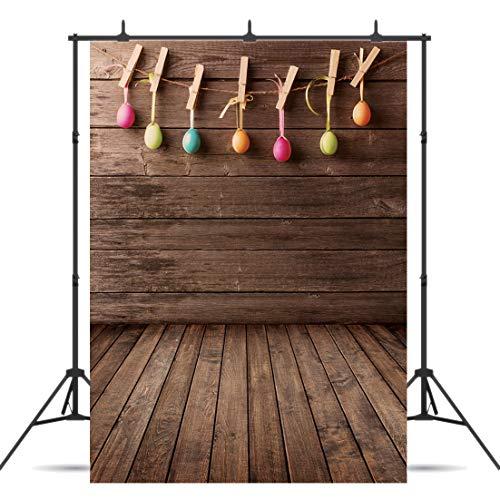 Dudaacvt 5x7ft Easter Photography Backdrops Wood Plank Background Colorful Eggs Children Kids Adult Portraits Photo Photographer Studio D145]()