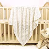 mimixiong Toddler Blankets Knitted Cellular Baby Blankets for Boys and Girls Ivory 40x30 Inch