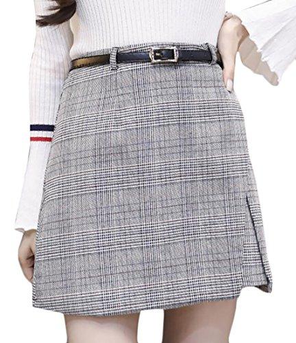 Generic Womens Winter High Waist Wool Blend Plaid A-Line Mini Skirt White XS (Wool Twill Skirt)