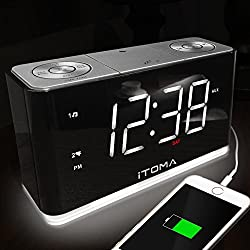 iTOMA Alarm Clock Radio, Digital FM Radio, Dual Alarm, Phone Charging, Night Light, Auto Dimmer, Snooze, Sleep Timer, Auto Time Setting, AUX-IN, Backup Battery (CKS507)