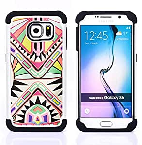 For Samsung Galaxy S6 G9200 - ancient art pattern white Dual Layer caso de Shell HUELGA Impacto pata de cabra con im??genes gr??ficas Steam - Funny Shop -