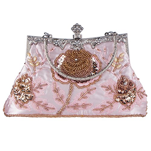 ge Style Roses Beaded And Sequined Evening Bag Wedding Party Handbag Clutch Purse (Beaded Vintage Evening Bag)