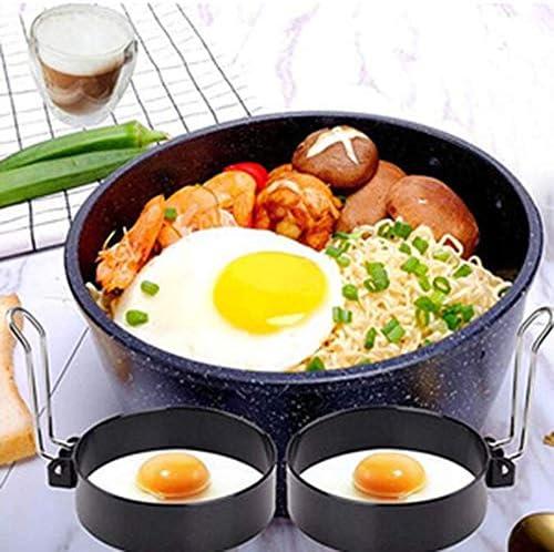 Bulawlly Paquet de 2 en Acier Inoxydable Non Stick Cercle Shaper Egg Anneaux, Cuisine de Cuisson Outil pour Friture Egg McMuffin, Sandwiches, Egg Maker Set Moisissures