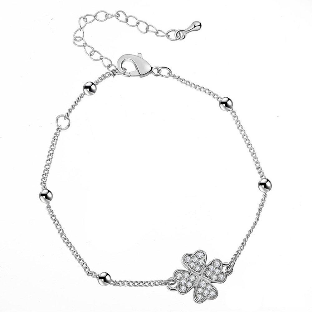 YOYOMA Ankle Bracelet for Women,Charm Pendant Anklets Girls Kids Gold Silver Bracelet with CZ Crystal