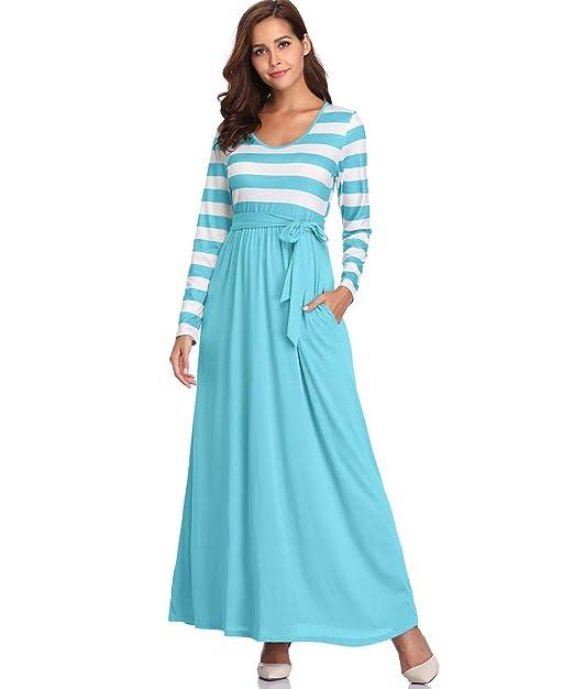6fadce38de9a Fellissy Damen Kleider Tshirt Kleid Casual Maxikleid Blusenkleider mit Taschen  V-Ausschnitt Langarm locker Strandkleid Hemdkleider mit Streifen für Arbeit  ...