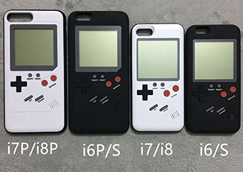 Retro 3D Gameboy Design Style Soft Silicone Cover Case For Apple iPhone Game Installed (7/8 Plus-Black)