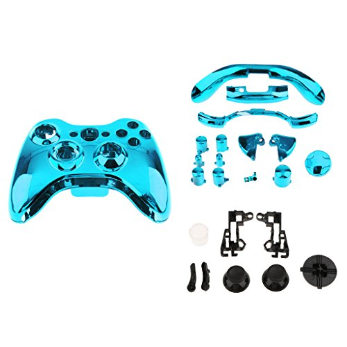 Custom Chrome Gold Replacement Top Shell Case Front Housing Faceplate Kits for Xbox 360 Remote Controller Cover Blue ()