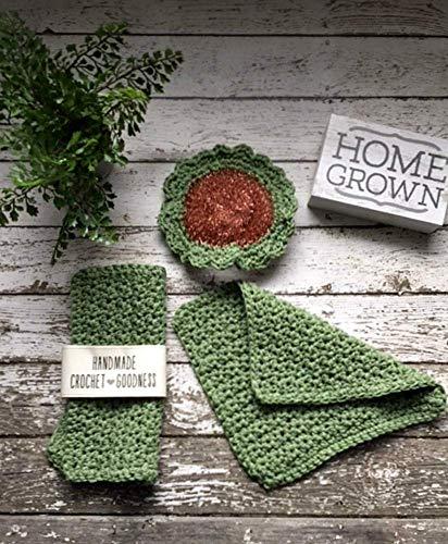 Amazoncom 3 Piece Crochet Dish Cloth Set Scrubbie Scrubby Sage