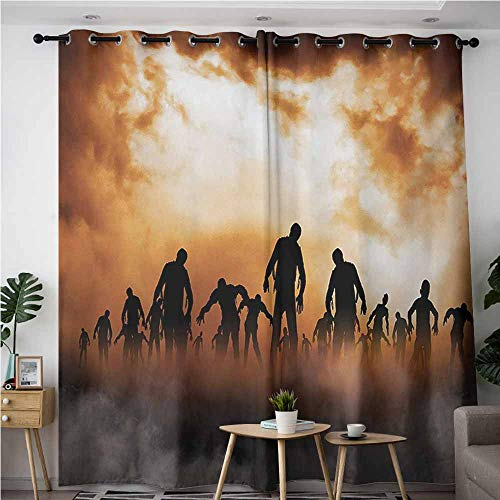 Curtains for Living Room,Halloween Zombies Dead Men Walking Body in The Doom Mist at Night Sky Haunted Theme Print,Blackout Window Curtain 2 Panel,W84x84L,Orange Black -