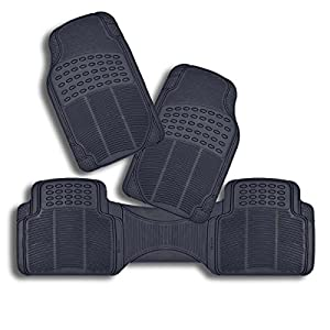 zento deals set of 3piece odorless all weather trimmable heavy duty pvc rubber vehicle floor mats black